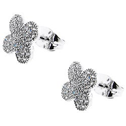 Sterling Silver Cubic Zirconia Clover Earrings
