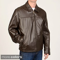 Chaps Men's Leather Open Bottom Jacket