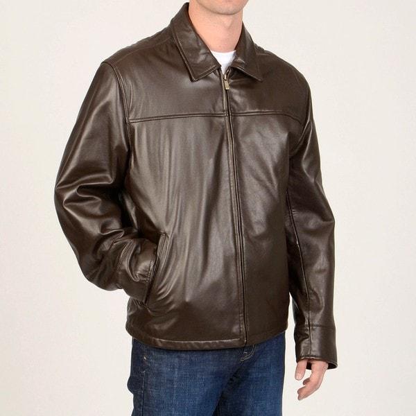 Chaps Men's Leather Open Bottom Jacket