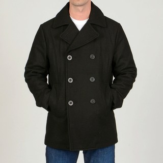 Chaps Men's Black Wool-blend Double-breasted Peacoat