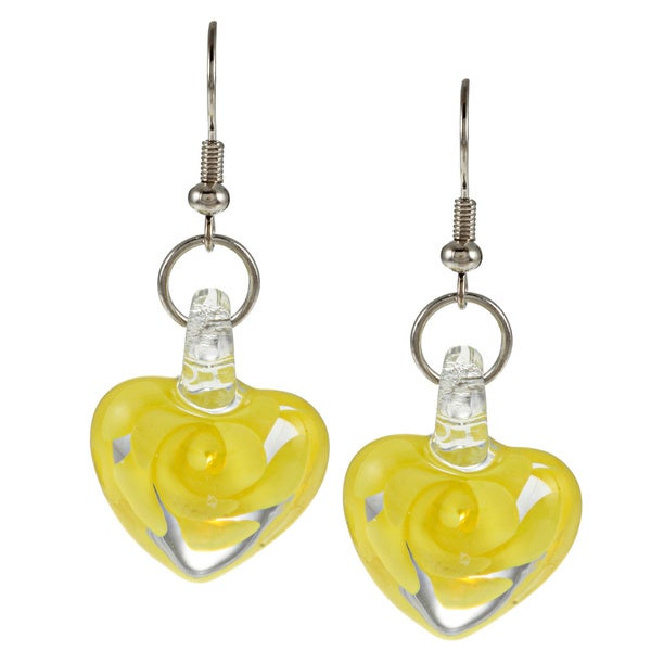 Bleek2Sheek Glass Swirl Flower Heart Earrings 10298155