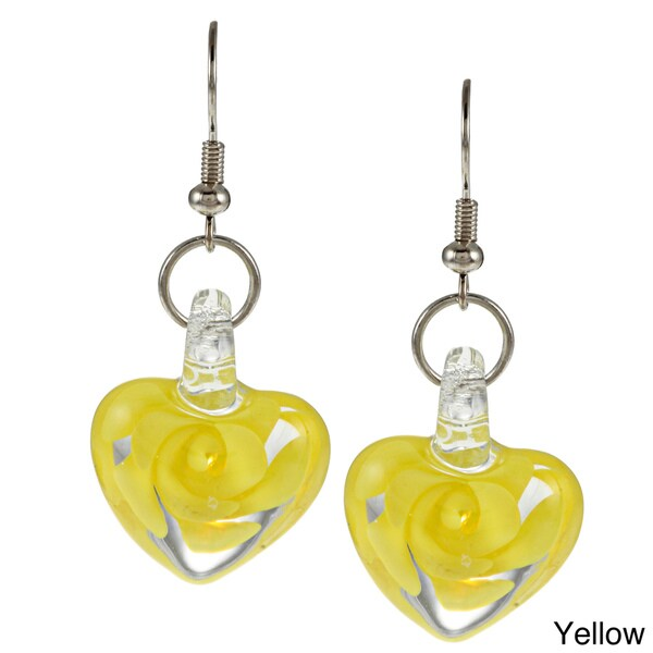 Bleek2Sheek Glass Swirl Flower Heart Earrings
