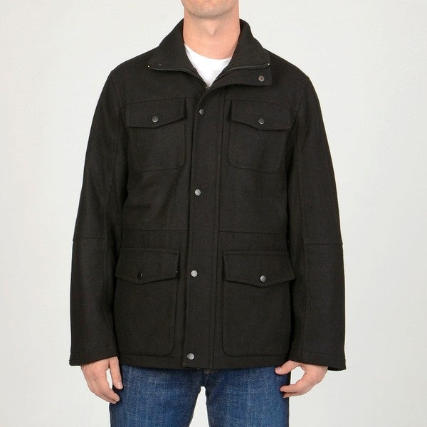 Chaps Men's Black Wool Blend Car Coat