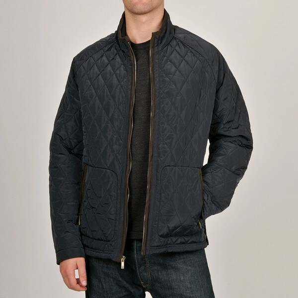 Chaps Men's Navy Diagonal Quilted Jacket
