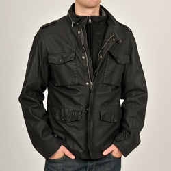 Chaps Men's Black Buffalo Aviator Faux Leather Coat