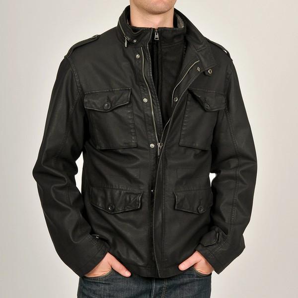 Chaps Men's Black Buffalo Aviator Faux Leather Coat