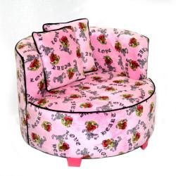 Magical Harmony Kids Minky Pink Heart Tattoo Redondo Chair