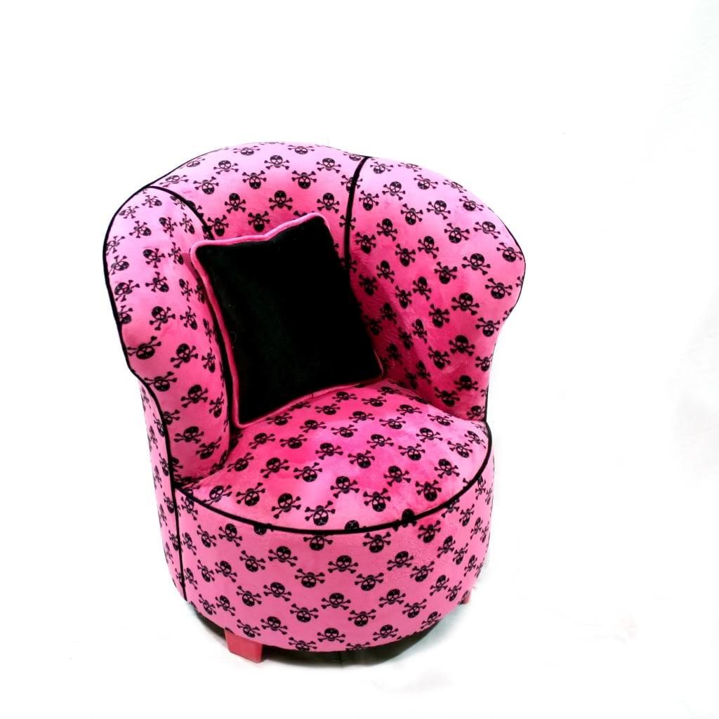 Magical Harmony Kids Minky Hot Pink Skull Tulip Chair