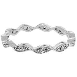 Sterling Silver Clear Cubic Zirconia Wave Band