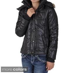 Ci Sono by Journee Juniors Faux Fur Trim Hooded Bubble Jacket