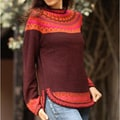 Alpaca Wool 'Plum Paradise' Sweater (Peru)