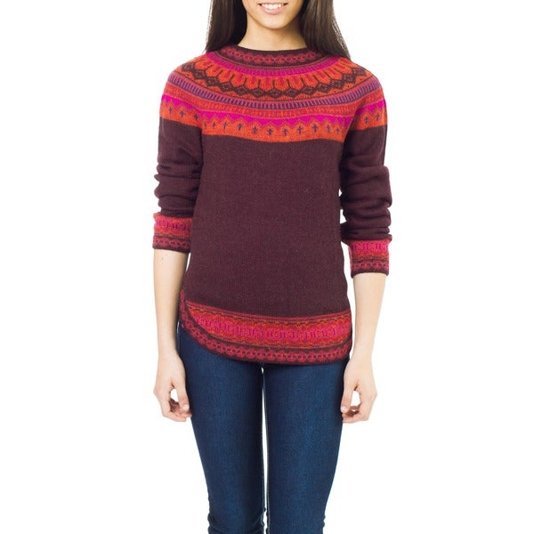 Multicolor Paradise Plum with Purple Pink Orange Fair Isle Borders 100-percent Alpaca Wool Round Neck Womens Sweater (Peru)
