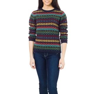 Alpaca Wool 'Spring Medley' Sweater (Peru)