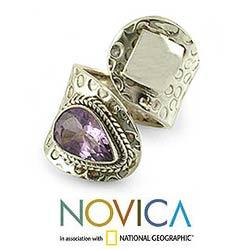 Sterling Silver 'Window' Amethyst Wrap Ring (India)