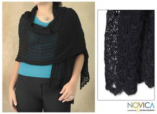 Alpaca Wool 'Muse in Black' Shawl (Peru)