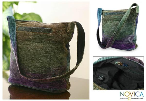 Bamboo Chenille 'Magic Forest' Medium Shoulder Bag (Guatemala)