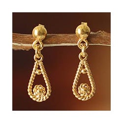 21 Karat Gold Plated 'Love Knot' Dangle Earrings (Peru)