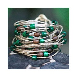 Bamboo and Leather 'Amazon Ferns' Wristband Bracelet (Brazil)