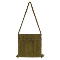 Handcrafted Wool 'Green Olive' Shoulder Bag (Mexico)