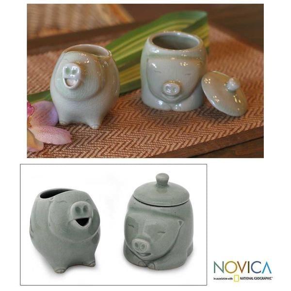 Set of 2 Ceramic 'Piggy Cheer' Sugar Bowl and Creamer (Thailand)