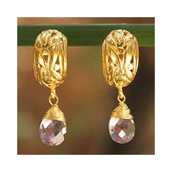 Gold Plated 'Chiang Rai Bouquet' Amethyst Earrings (Thailand)