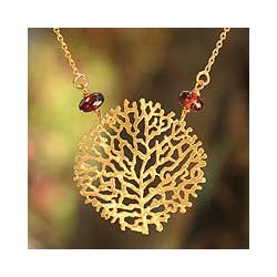 Gold Vermeil 'Living Coral' Garnet Necklace (Thailand)