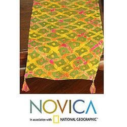 Handcrafted Hemp 'Hmong Fields' Batik Table Runner (Thailand)