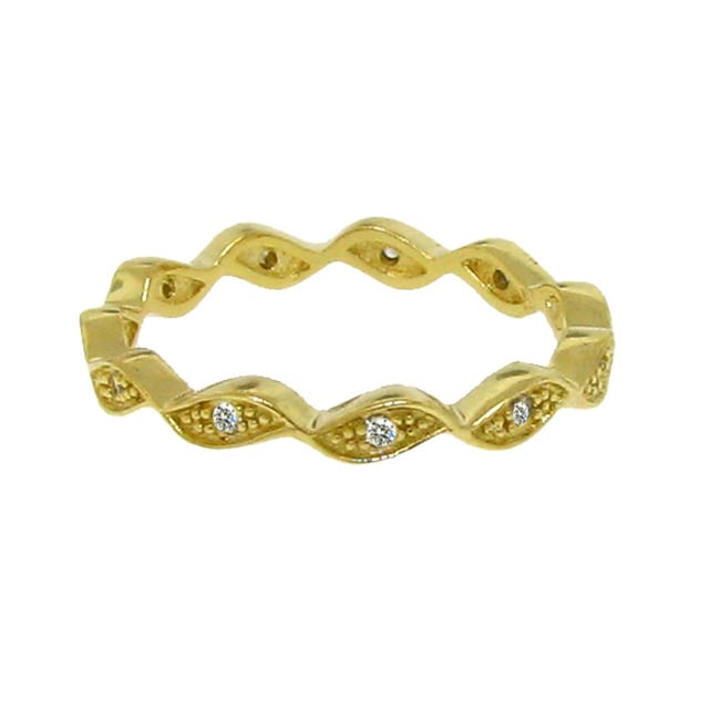 14k Gold over Silver Clear Cubic Zirconia Wave Band
