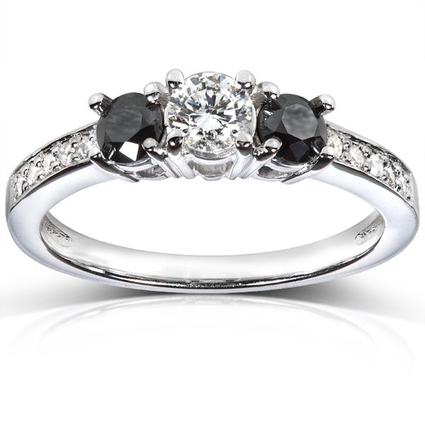 Annello 14k White Gold 3/5 ct TDW Black and White Diamond Engagement Ring (H-I, I1-I2)