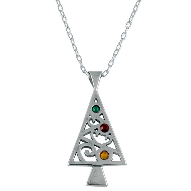 Silvermoon Sterling Silver Crystal Christmas Tree Necklace at Sears.com