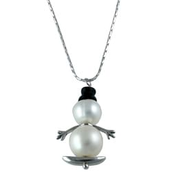 Silvermoon Sterling Silver Onyx Hat and Pearl Snowman on Sled Necklace