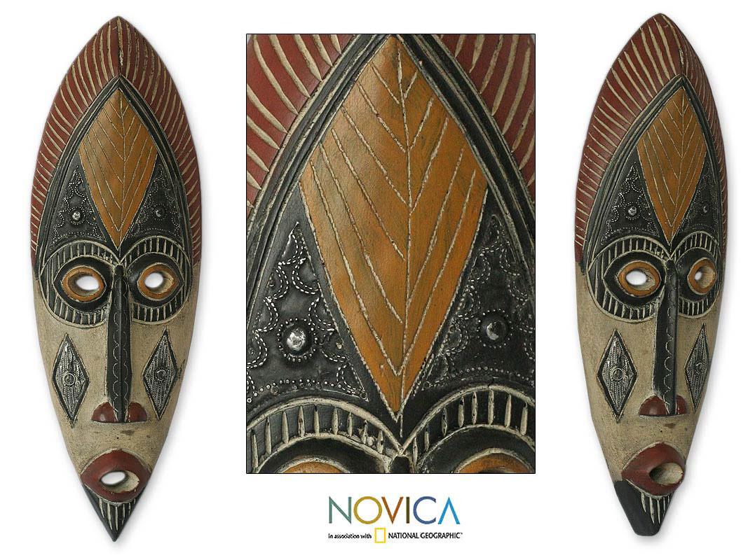 Sese Wood 'Kaduna Protector' African Mask (Ghana)
