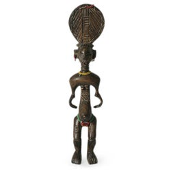 Handcrafted Sese Wood 'Baule Mother' Fertility Doll Sculpture (Ghana)