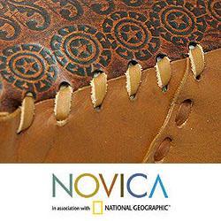 Leather 'Square Brazilian Constellations' Ottoman Cover (Brazil)