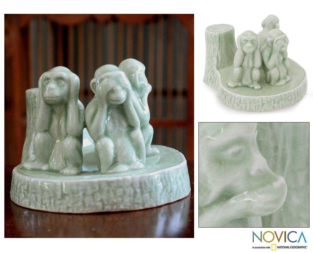 Celadon Ceramic 'Wise Monkeys' Sculpture (Thailand)