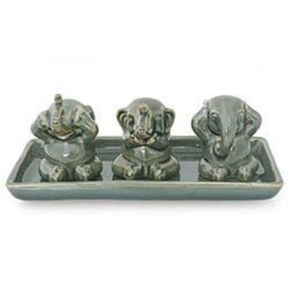 Set of 3 Celadon Ceramic 'Elephant Lessons' Sculptures , Handmade in Thailand
