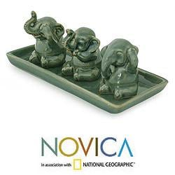 Set of 3 Celadon Ceramic 'Elephant Lessons' Sculptures  (Thailand)