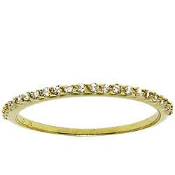 14k Yellow Gold over Silver Clear Cubic Zirconia Band