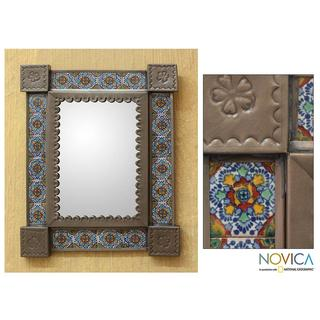Handcrafted Tin and Ceramic 'Colonial Garland' Wall Mirror (Mexico)
