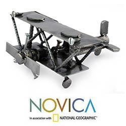 Recycled Metal 'Rustic Biplane' Sculpture (Mexico)