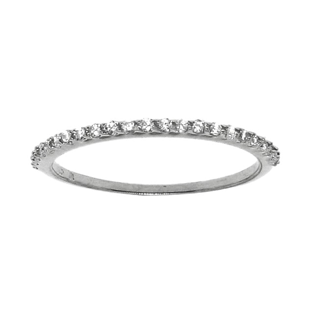 Sterling Silver Clear Round-cut Cubic Zirconia Band
