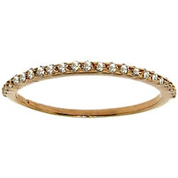 14k Rose Gold over Silver Clear Cubic Zirconia Band