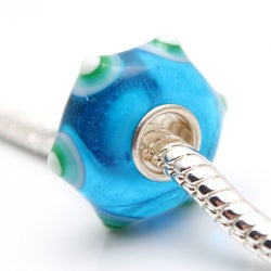 Bleek2Sheek Glass Blue and Green Bumps Charm Beads (Set of 2)
