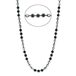 Eternally Haute Silver Black and White Half-Moon Necklace