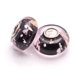 Bleek2Sheek Glass Black Silvertone Specks Charm Beads (Set of 2)