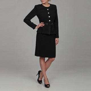 Tahari Women's Navy Four-button Belted Skirt Suit