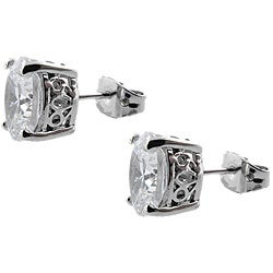 Moise High-Polish Sterling-Silver Clear Cubic Zirconia Oval Stud Earrings