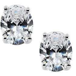 Moise Sterling Silver Clear Cubic Zirconia Oval Stud Earrings
