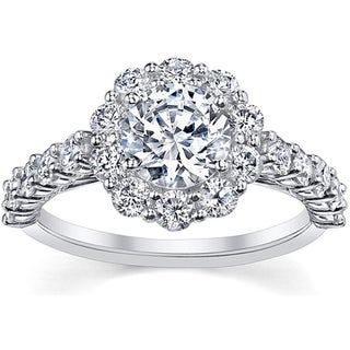 18k White Gold 2ct TDW Certified Diamond Engagement Ring (I, SI3)