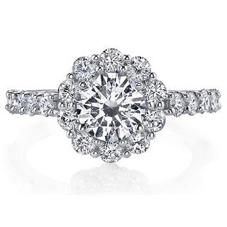 18k White Gold 2ct TDW Certified Diamond Engagement Ring (I, SI3)